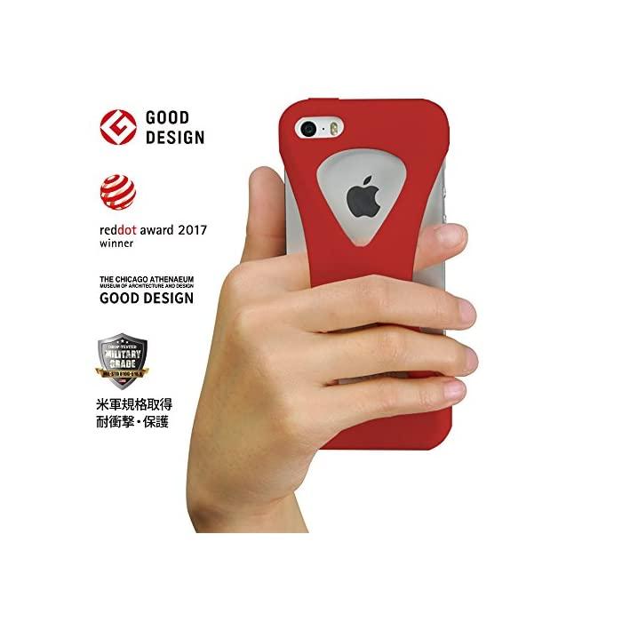 이시 비비 (ECBB) Palmo 팔머 스마호케스 iPhone SE 2016 (제 1 세대) 5s / 5c 5 대응 레드 빨강 굿 디자인 상 낙하 방지 충격 흡수 한 손