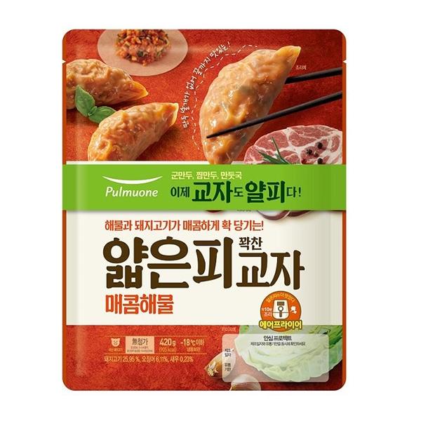 풀무원 얇은피 교자만두 매콤해물 420g x 2봉, 아이스박스 포장, 단일상품