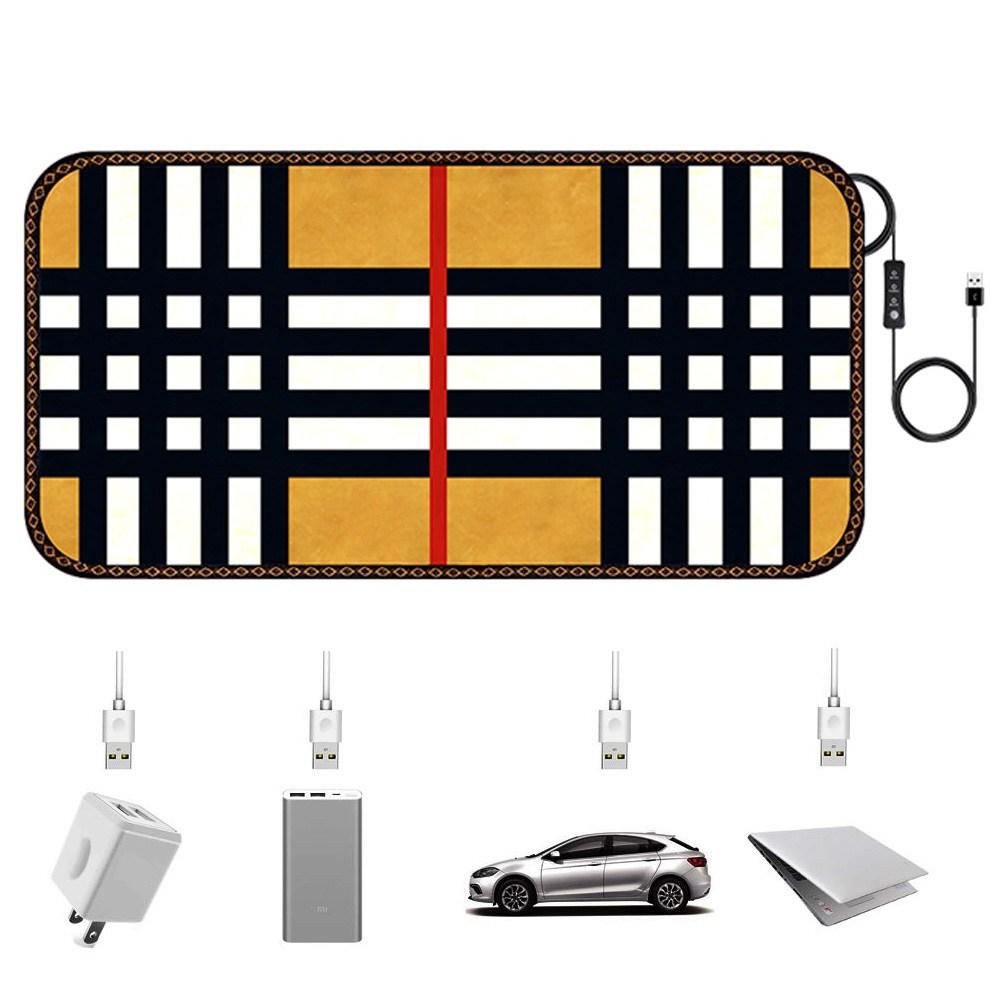 카자리코 DC 5V USB온열매트 전기장판 차량용 낚시 캠핑용 전기방석 차박용 나노카본 전기요, 88×45.5cm, 체 크