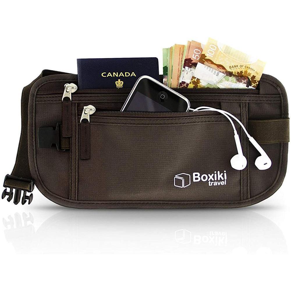 [수입] Boxiki Travel Money Belt RFID 차단 머니 벨트 안전한 가방 남녀 공용 안전 벨트 지갑 전화 개인 물품. 런닝 벨트 패니 팩