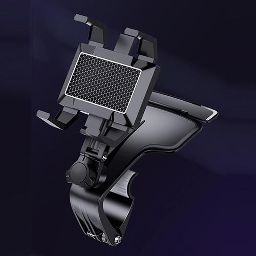 자이로 차량용 집게형 HUD 헤드업 계기판 대시보드 대쉬보드 스마트폰 휴대폰 네비 거치대 홀더, 블랙, 1개