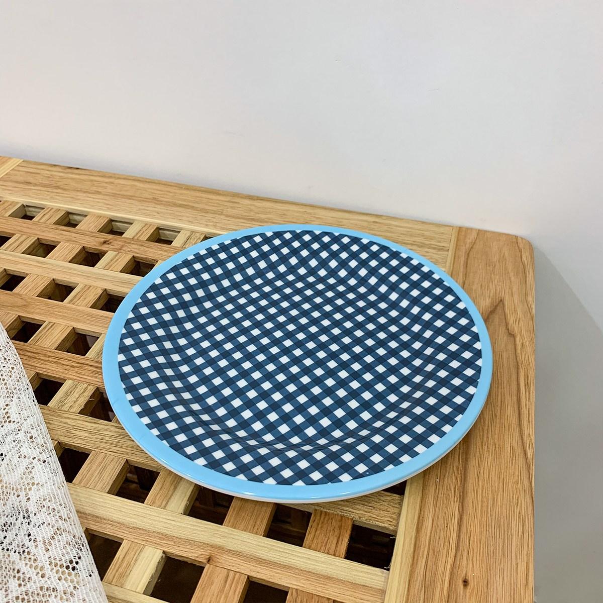 멜라민 체크 플레이트 볼 6종 요거트 보울 홈까페 빈티지 접시 안깨지는 감성 캠핑 그릇, 진한 파란색 격자판