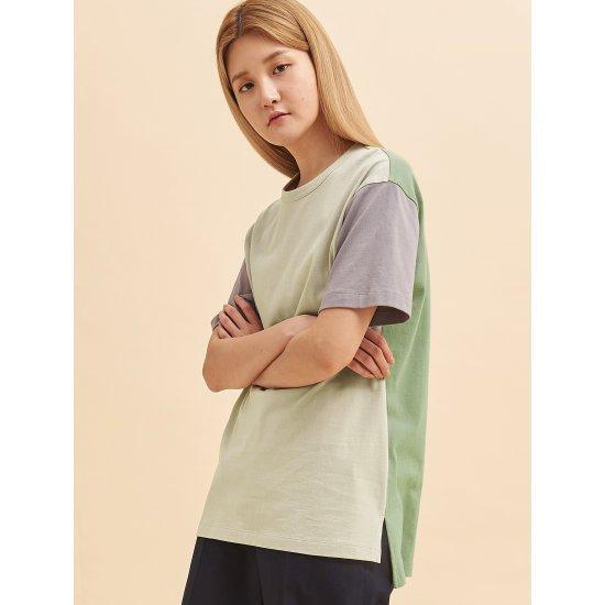 빈폴레이디스 [GREEN BEANPOLE] 라이트 그린 빅 로고 컬러 배색 티셔츠 (BF0642N91L)