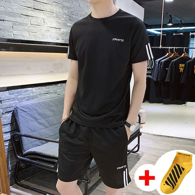 반팔 트레이닝복 세트 여름 츄리닝 헬스복 WI014SET+국내발송+양말증정, 블랙