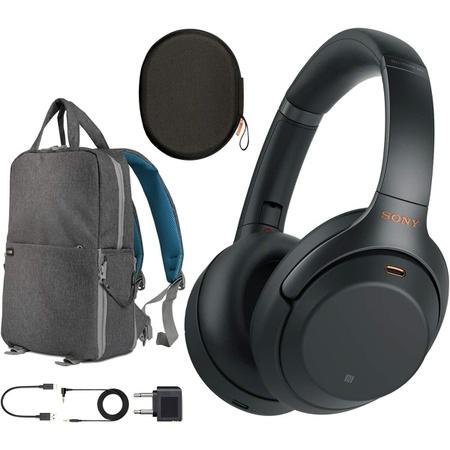 Sony WH1000XM3B Premium Noise Cancelling Wireless Headphones wMicrophone + Wood Headphone Stand + H, 상세 설명 참조0, Silver