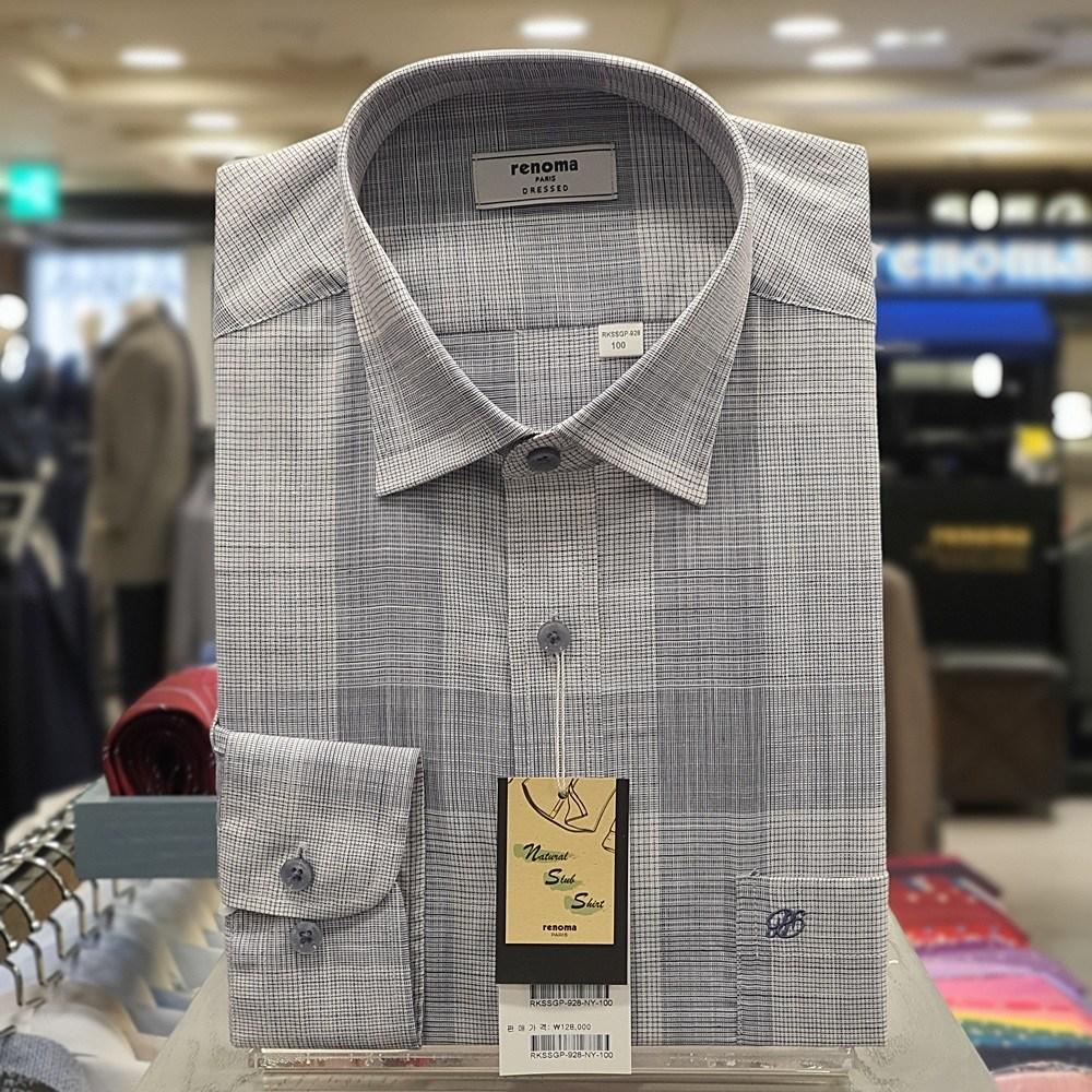 레노마 셔츠 면혼방 은은 한 네이비 슬럽 빅 체크 일반핏 셔츠RKSSGP928NY