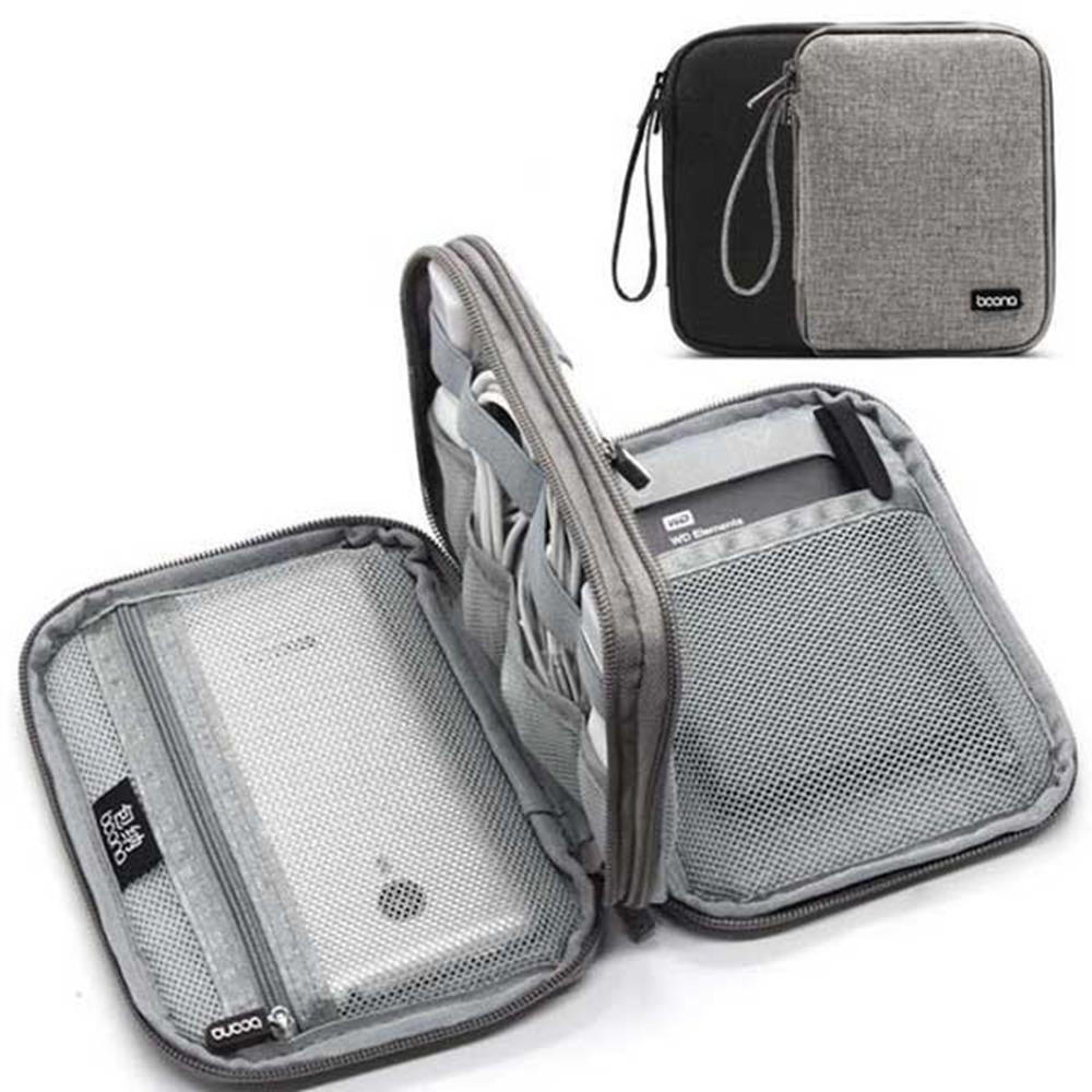 넉넉 사이즈 디지털 악세사리 이동 파우치 베터리 USB 파우치가방 충전선, 블랙