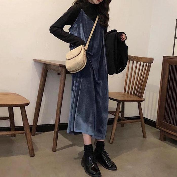 kirahosi 퀄리티 여성 가을 겨울 긴팔 티셔츠/블라우스 멜빵 치마 세트 투피스 5 HD9+덧신 증정 Csoc7h7