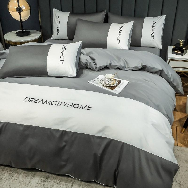 이불커버 북유렵풍 침대 4세트 순면 100친피부 침대커버 스커트타입 스테이플목화, C01-1.2m침대커버 상품 3세트 이불커버 150*200cm