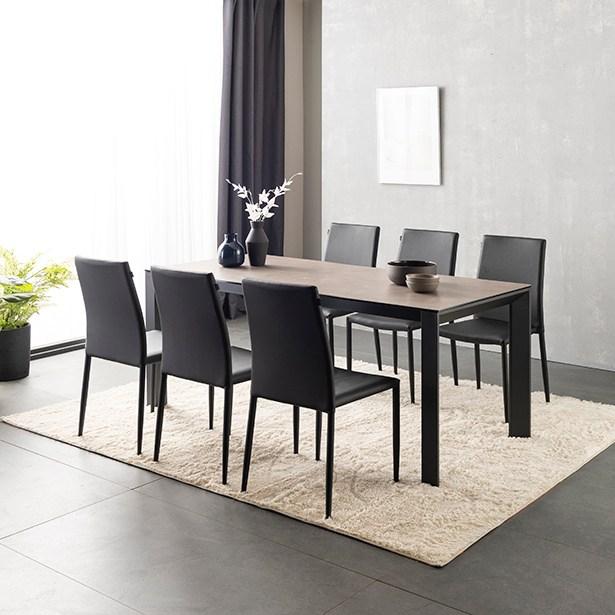 리바트온라인 비토 6인 세라믹 식탁세트(토핑체어6 2색 택1), (식탁)빈티지그레이+(체어)블랙