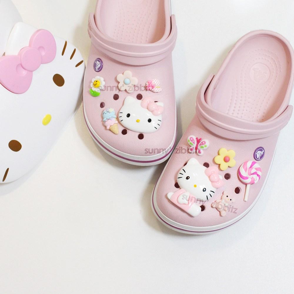 [써니데코]키티 세트 (10pcs) 핑크 악세사리 꽃 고양이 캐릭터 실내화 슬리퍼 악세사리 신발꾸미기 써니데코덴-29-1914154135