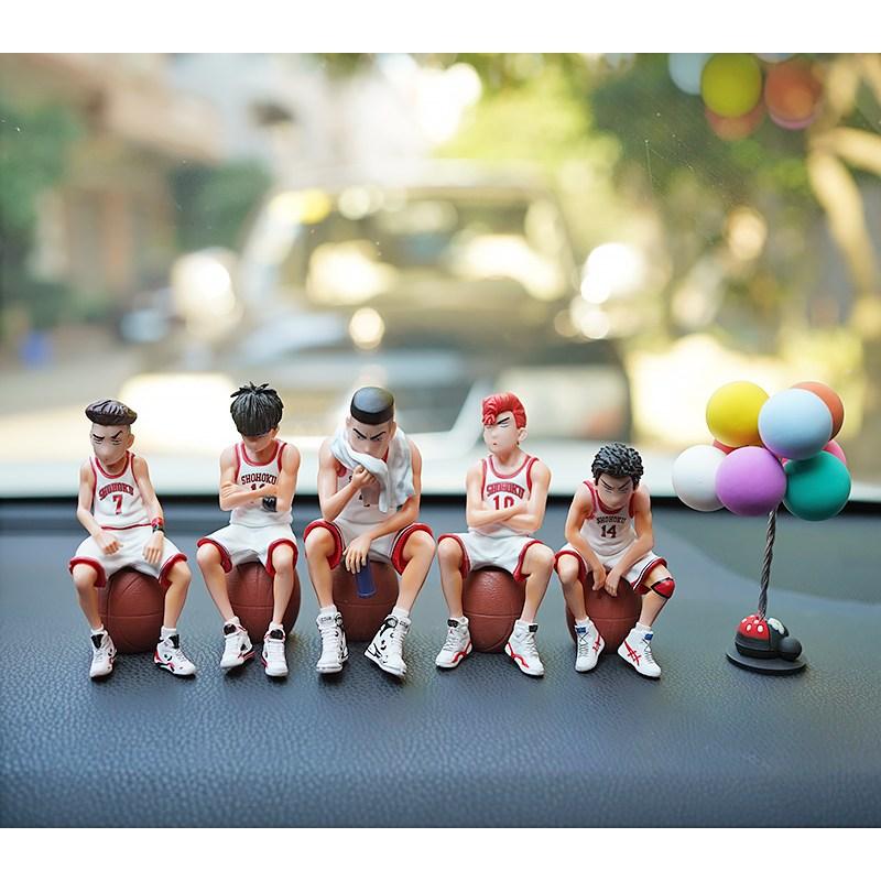 슬램덩크 피규어 차량용 강백호 송태섭 채치수, 슬램 덩크 5 개 세트 (흰색) + 풍선 10cm 높이) 선물 상자 버전