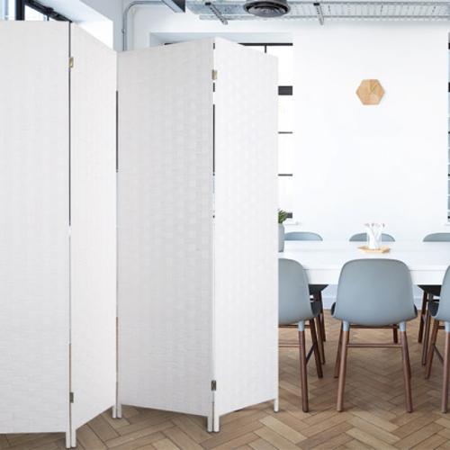 에코팩토리 인테리어 파티션 핸드메이드 라탄 칸막이 공간분리 가벽, [E-대형]150x200cm올:화이트