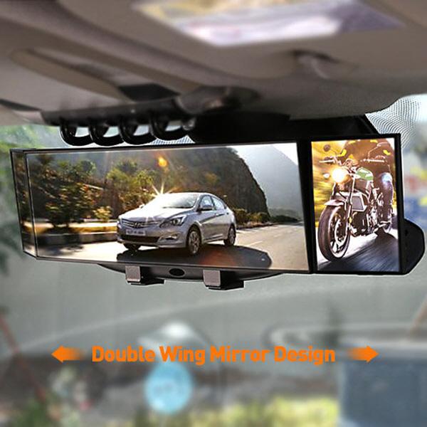 사이드윙 3면 385MM 와이드 룸미러 사각지대 보조미러 안심주차 차량 자동차용품, 단품