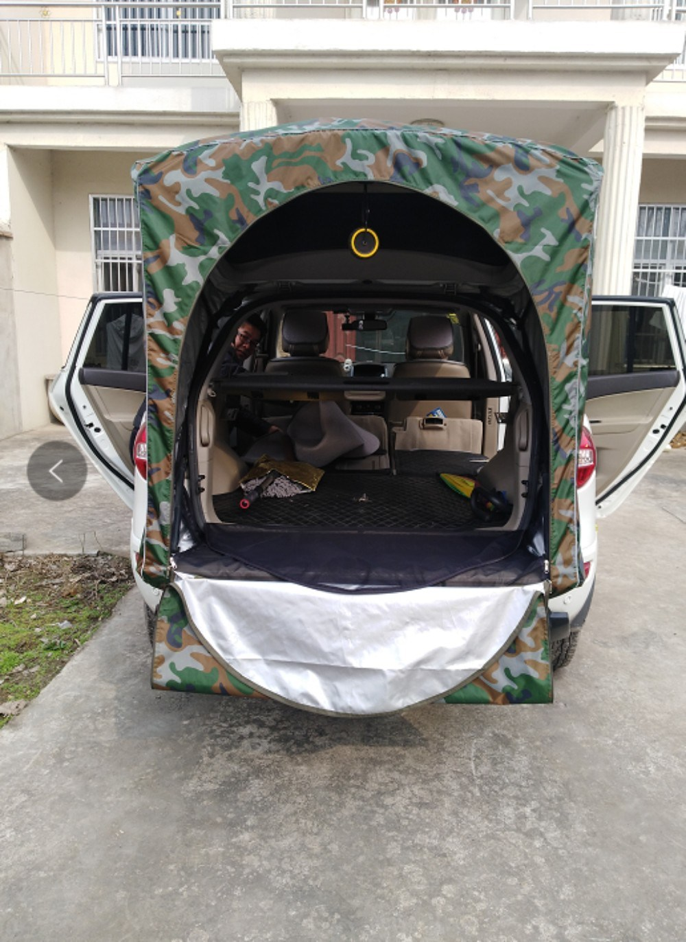 이효리 제주 속초 감성 캠핑 카박 도킹 차량 후방 연결 차박하기 좋은 차 텐트 쉘터 용품, 01-큰 꽃 위장