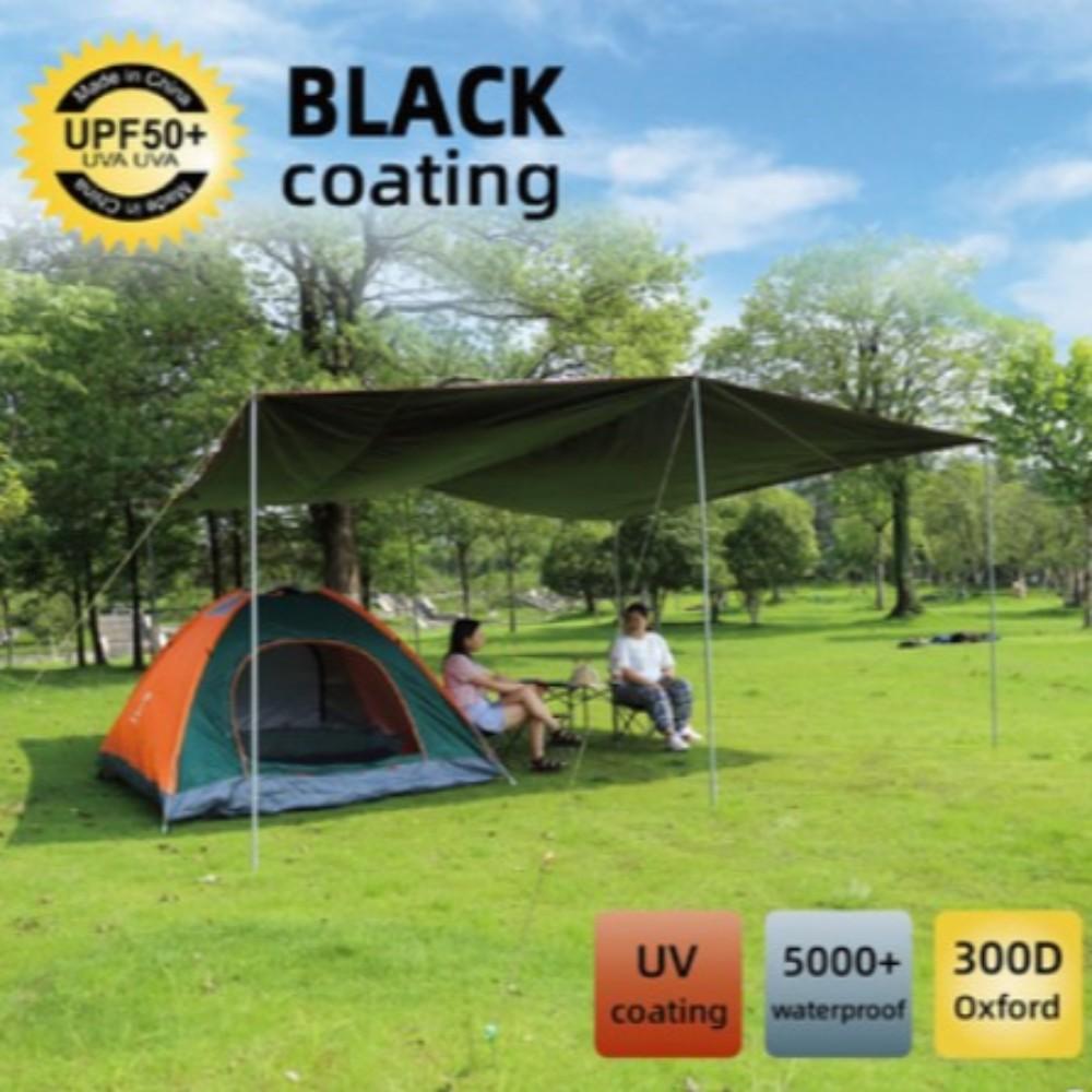 블랙-블랙코팅 렉타 타프 초대형 스크린 헥사 차박 암막텐트 하비 바람막이, 4.4 * 4.4m폴대2개