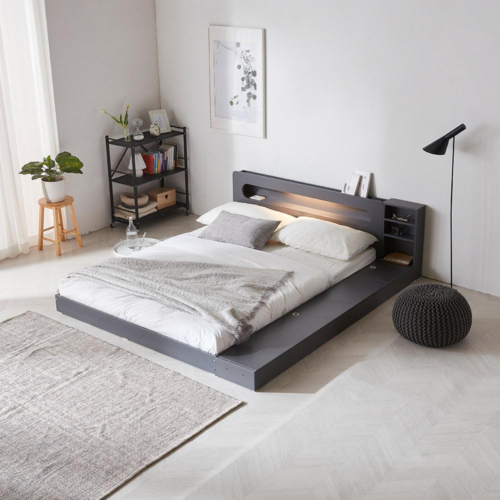 파로마 에반 LED 저상형 침대/수납형 퀸(Q)_프레임만, 그레이