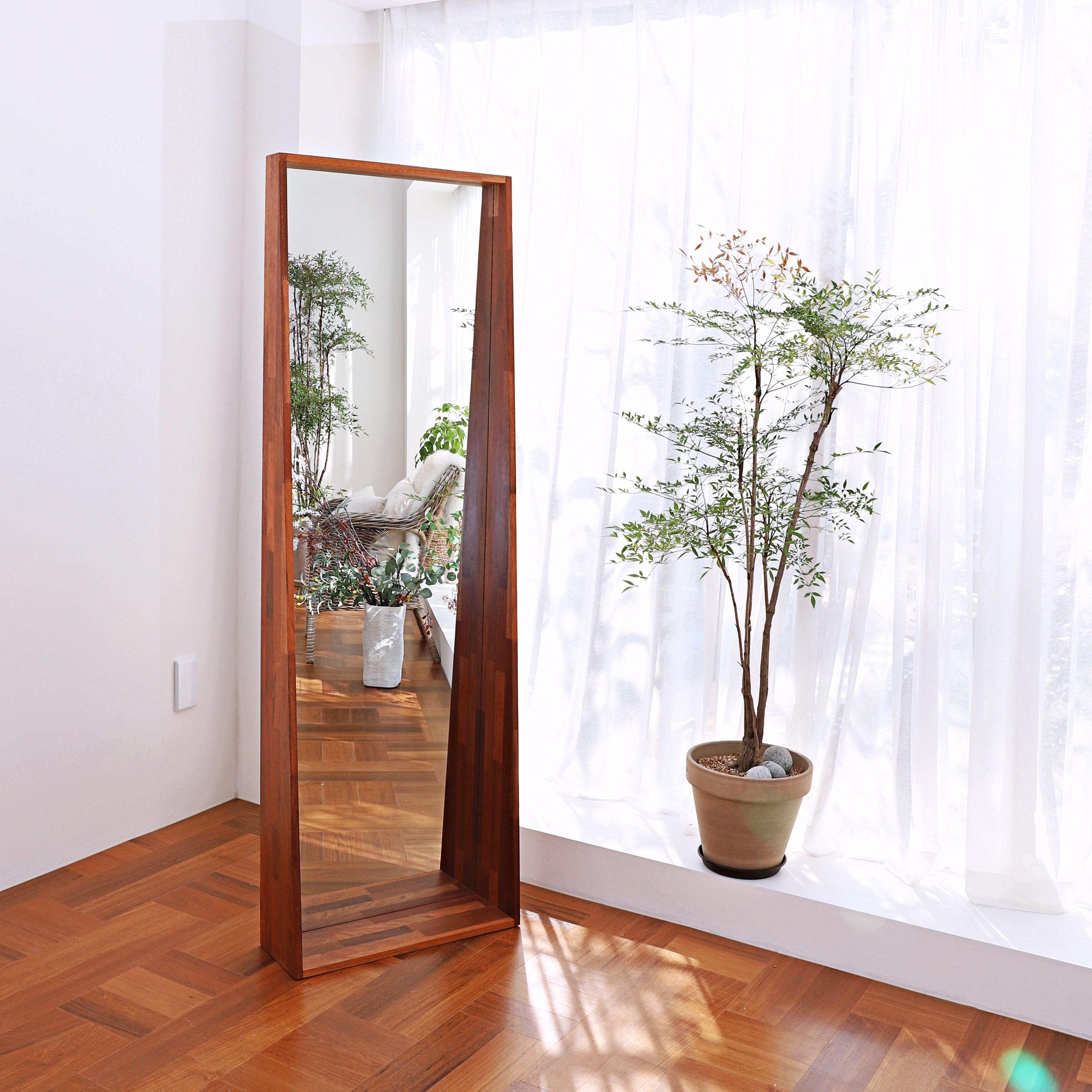 두두할배 대형 멀바우 원목 전신거울 1800, 적갈샐 멀바우 원목