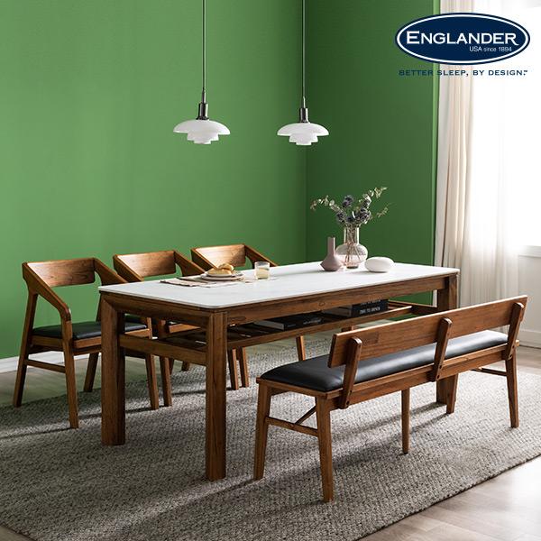 잉글랜더 발리 원목 통세라믹 6인용 식탁세트(벤치1+의자3), 그레이