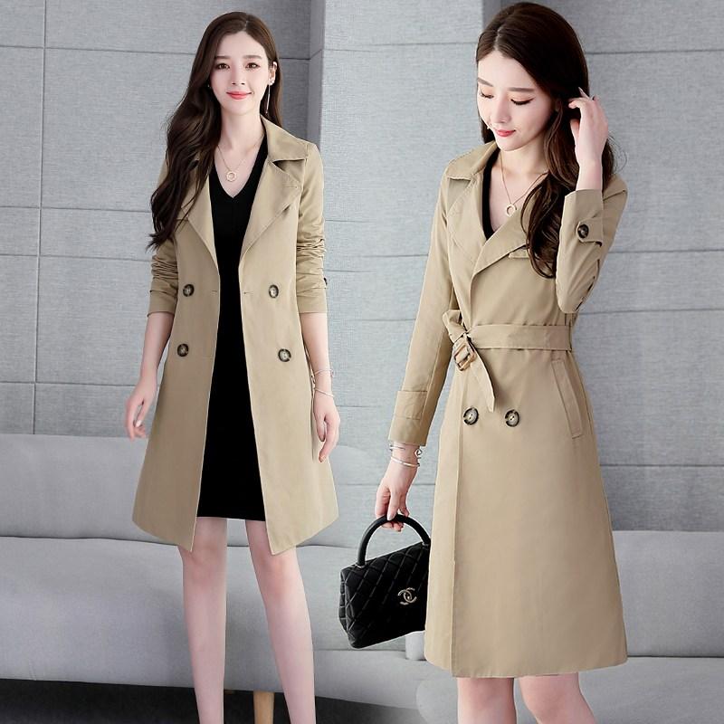 봄옷 긴 소매 더블 단추 슬림 슬림핏 끈 하프트렌치코트 여성 어텀 무드 롱 코트