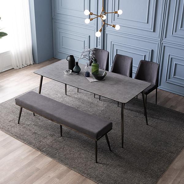 삼익가구 테스 세라믹 6인용 식탁 세트, 02.6인용 식탁세트(의자3+벤치1):그레이