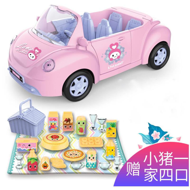 바 비 인형 세트 소녀 공주 자동차 장난감 오픈카 이야기 음악 장난감 차 핑크 공주 차 문 을 열 어 돼지 네 식구 + 피크닉 세트