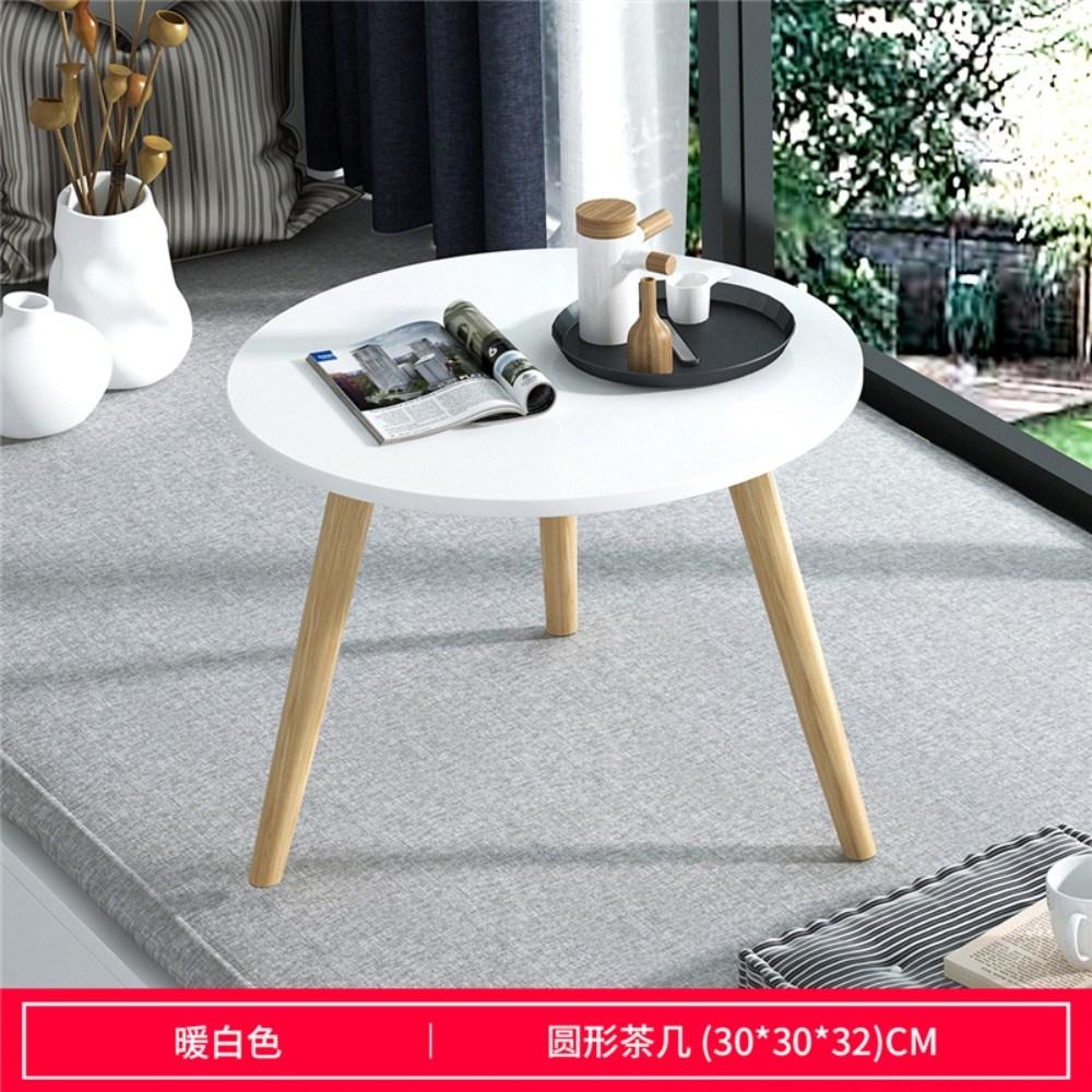 화이트 우드 미니 카페 테이블, [원형] 따뜻한 흰색 지름 30cm 높이 32cm
