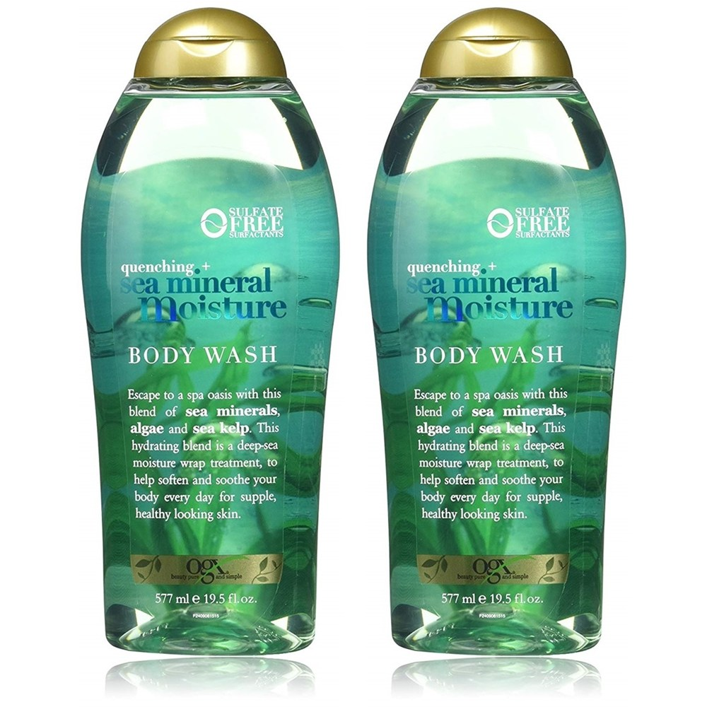 OGX 오지엑스 바디 워시 시 미네랄 모이스쳐 577ml 2팩 Quenching + Sea Mineral Moisture Body Wash 19.5 Ounce, 1set