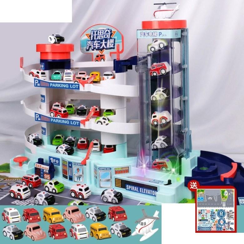 5층 대형 장난감 주차 타워 자동 엘리베이터 전동 컨트롤 작동 선물 서프라이즈 휴대폰 끊는법, 오버사이즈 자동차+LED+차12+비행기1