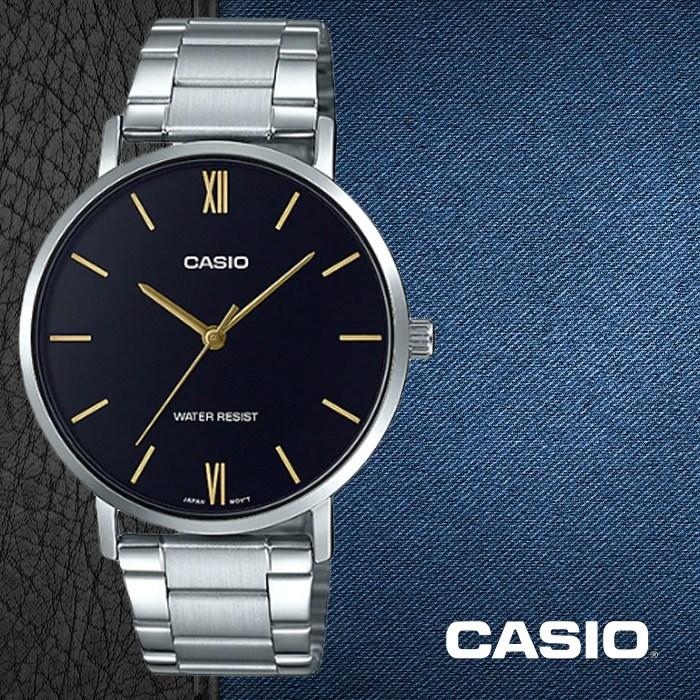CASIO 카시오 MTP-VT01D-1B 남성시계 메탈밴드 손목시계