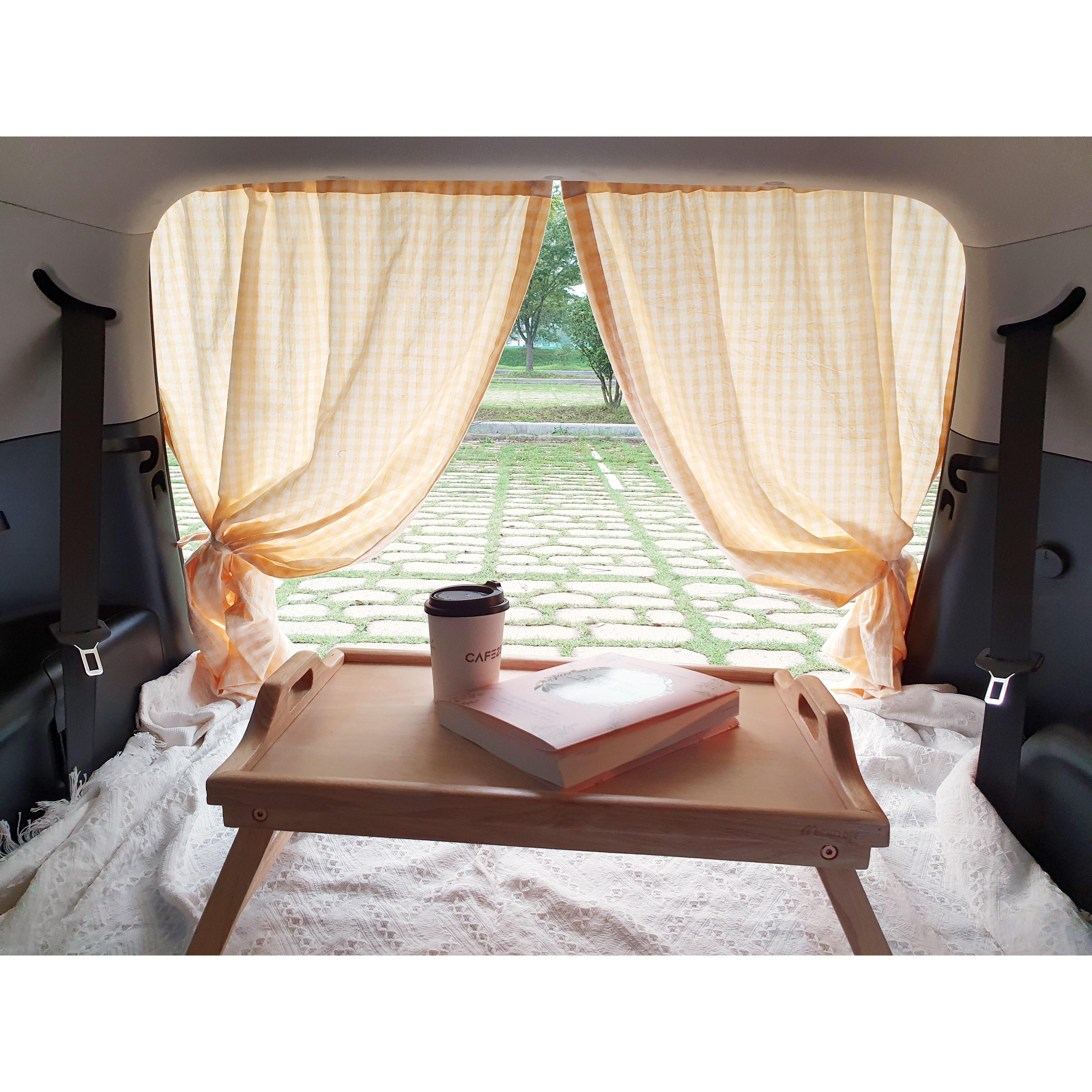 지구별 프라이빗 카 트렁크 차박 커튼 창문 햇빛 가리개, 80*105, 2장, 여리여리 핑크