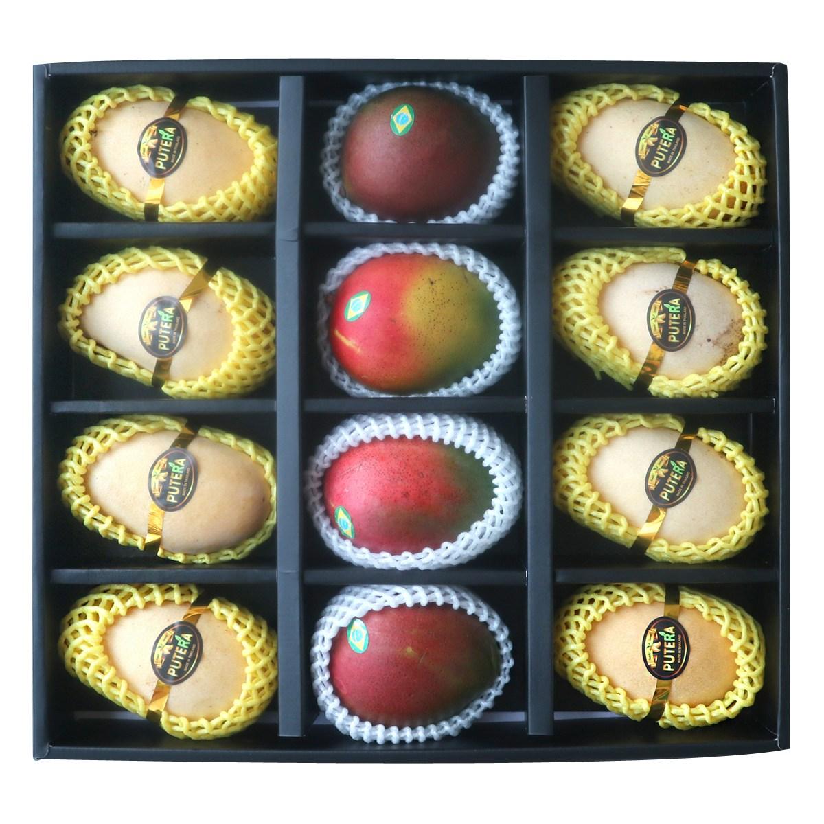 애플망고 선물세트 4kg / 6과 /9과 12과/태국망고혼합, 5. 혼합12과 (애플4 태국8)  3.8kg 선물세트