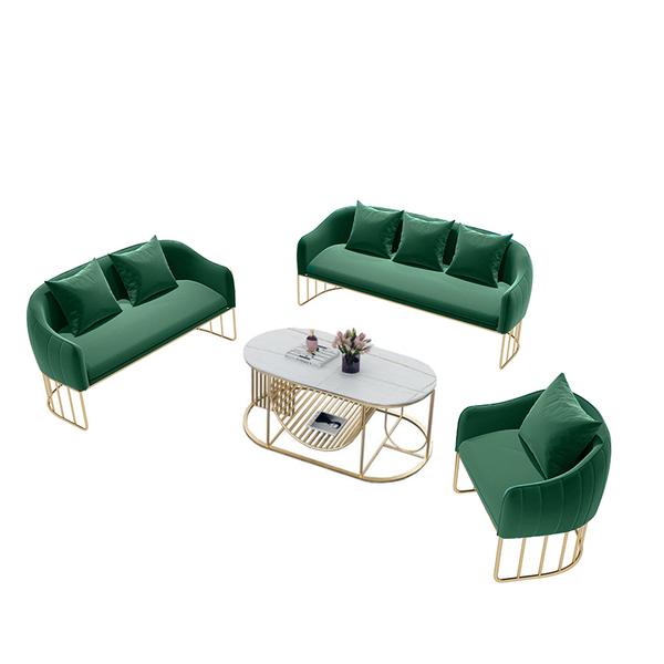 북유럽 패브릭 소파 심플 모던 넷 레드 라이트 럭셔리, 1 싱글 +1 더블 +1 three + 커피 테이블 (녹색)_다른