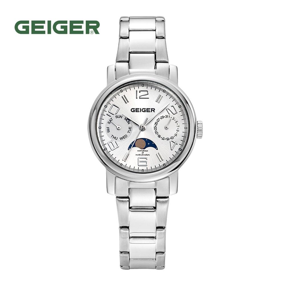 가이거[GEIGER] [본사 정품] 가이거 여성용 문페이즈 메탈시계 GE 8026 WS L (32mm)