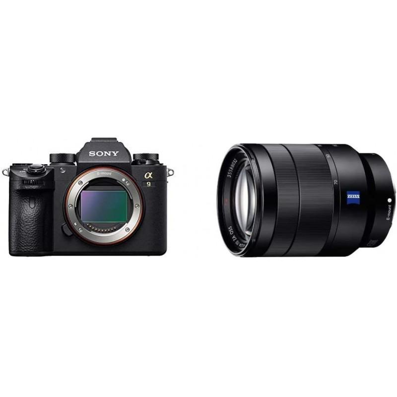 Sony a9 풀 프레임 미러리스 렌즈 교환식 카메라 (바디 전용) (ILCE9 / B) 블랙 Sony 24-70mm f / 4 Vario-Tessar T FE OSS, 단일옵션