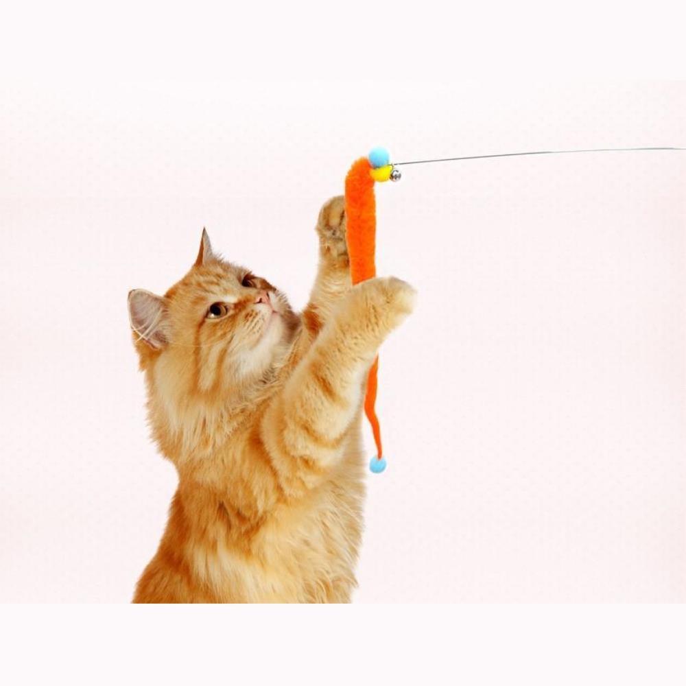 고양이 방울 밍크폼폼 낚시대 3개 고양이완구 고양이장난감 장난감고양이 애완동물