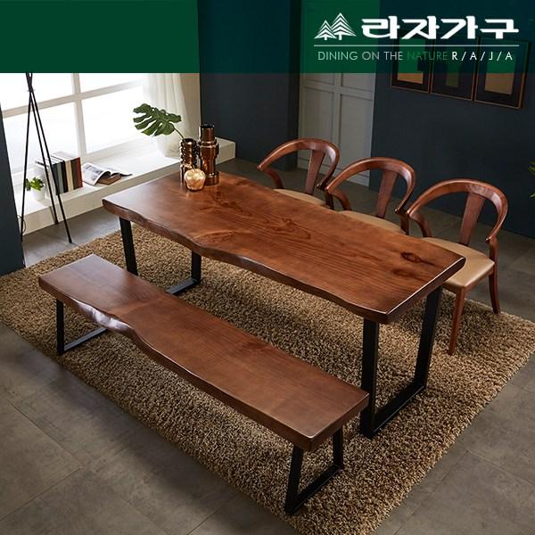 뉴송 우드슬랩 통원목 세미 와이드 식탁 테이블 1600, 투톤
