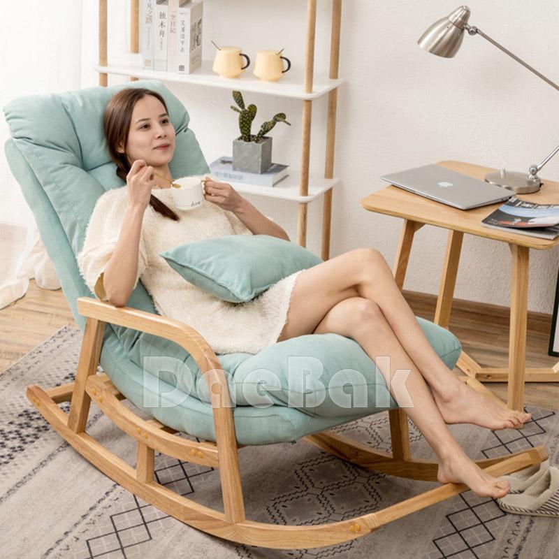 북유럽 발코니 레이지 원목흔들의자 원목안락의자, 원목-애플그린