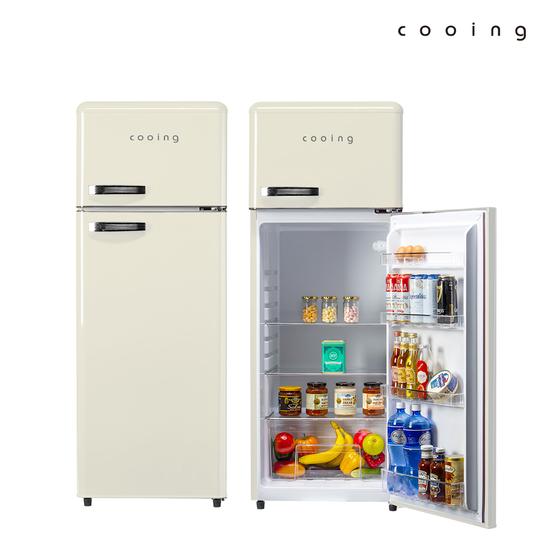 [K쇼핑]쿠잉 레트로 냉장고 REF-D215C 208L 소형/미니/2도어, 단일상품