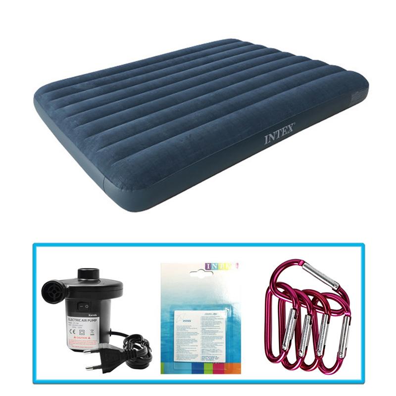 인텍스 듀라빔 에어매트+가정용전동펌프+수리패치+카리비너5
