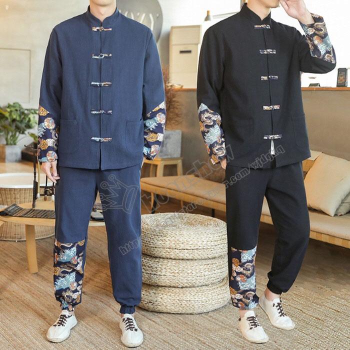용무늬 자수 남성 프린트 디자인 개량 일상 생할 한복