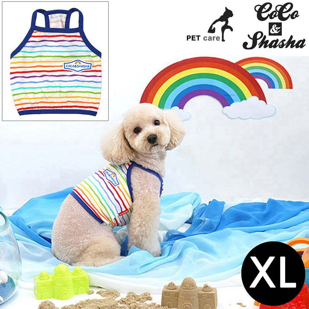 YJ_18766 + 강아지 티셔츠 +TWON#+ 레인보우 크롭 티셔츠 (블루) (XL)