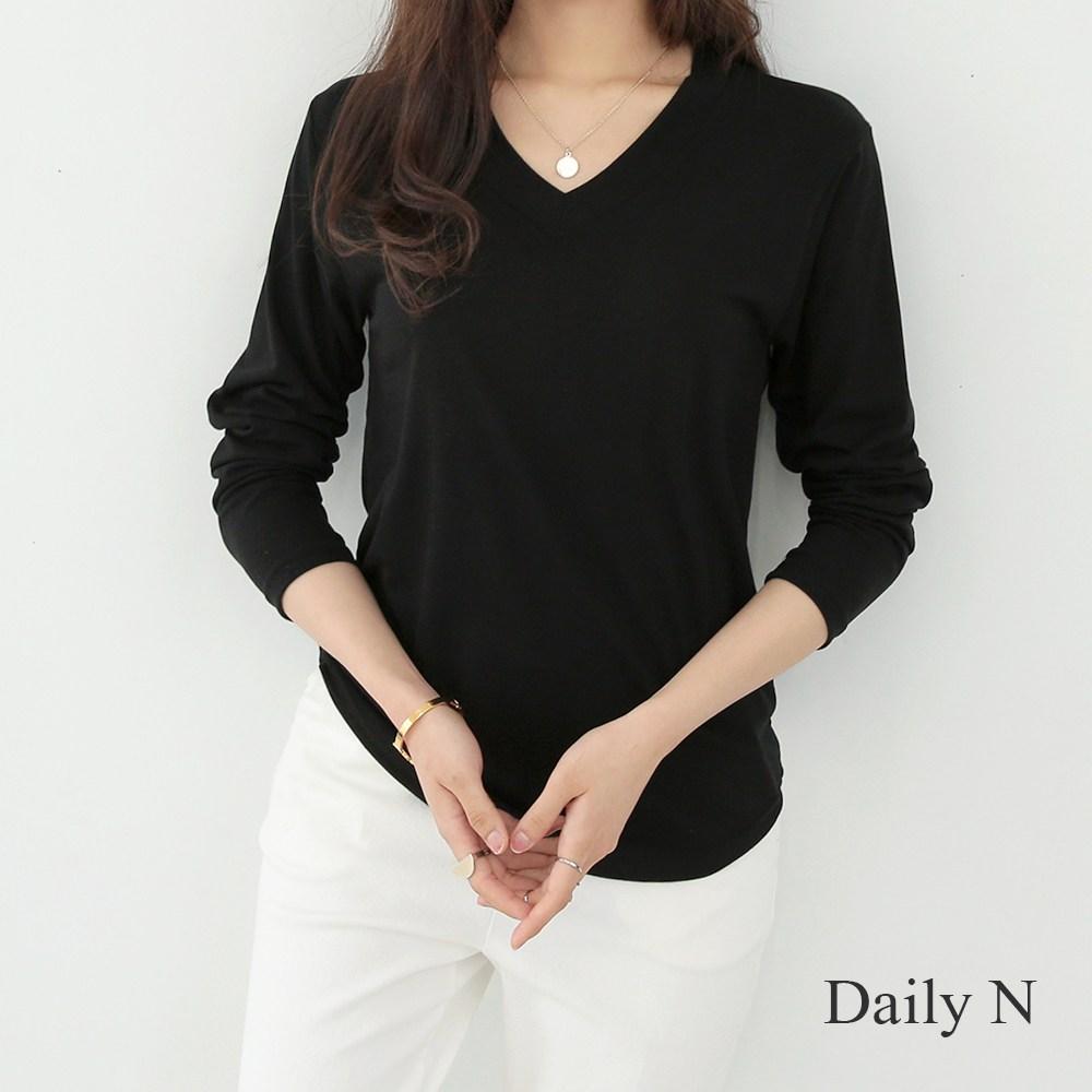 데일리앤 여성용 아이콘 브이넥 무지 긴팔 티셔츠