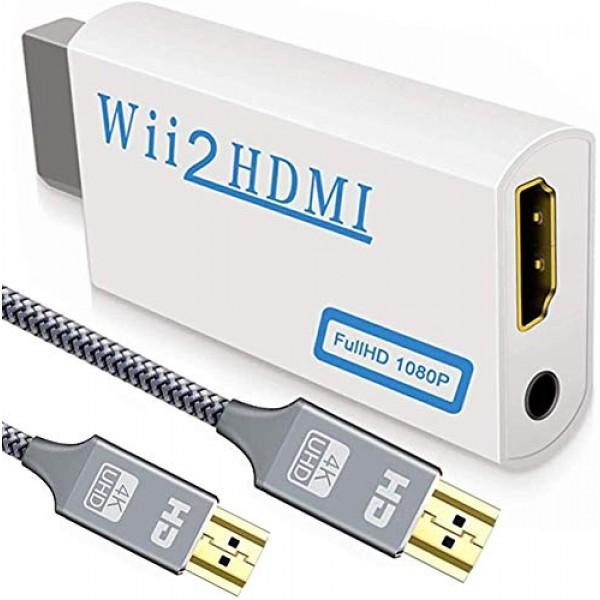 업그레이드 버전 Wii에서 HDMI 컨버터 + 6.6 피트 고속 HDMI 케이블 -3.5mm 오디오 잭을 갖춘 Wii2 HDMI 1080P 72, 단일상품, 단일상품
