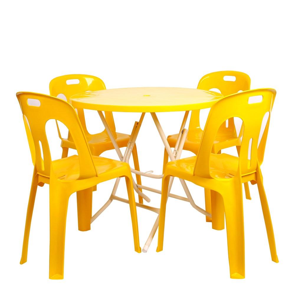지오리빙 플라스틱 테이블 의자 세트 야외테이블세트, 원형+등받이의자(옐로우)