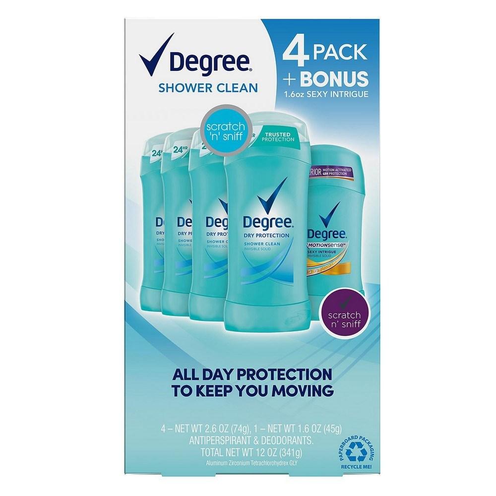 Degree 디그리 드라이 프로텍션 데오도란트 Dry Protection Deodorant Shower Clean 2.6oz(74g) 4팩 + 증정품, 1개