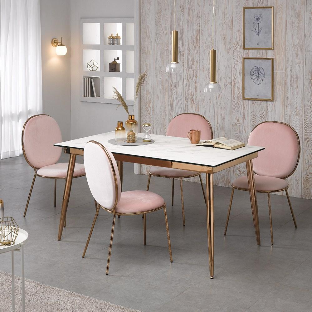 [로드퍼니처] 골드문 이태리 세라믹 식탁세트 /4인용/6인용, 1200사이즈-화이트 상판+의자(혼합)