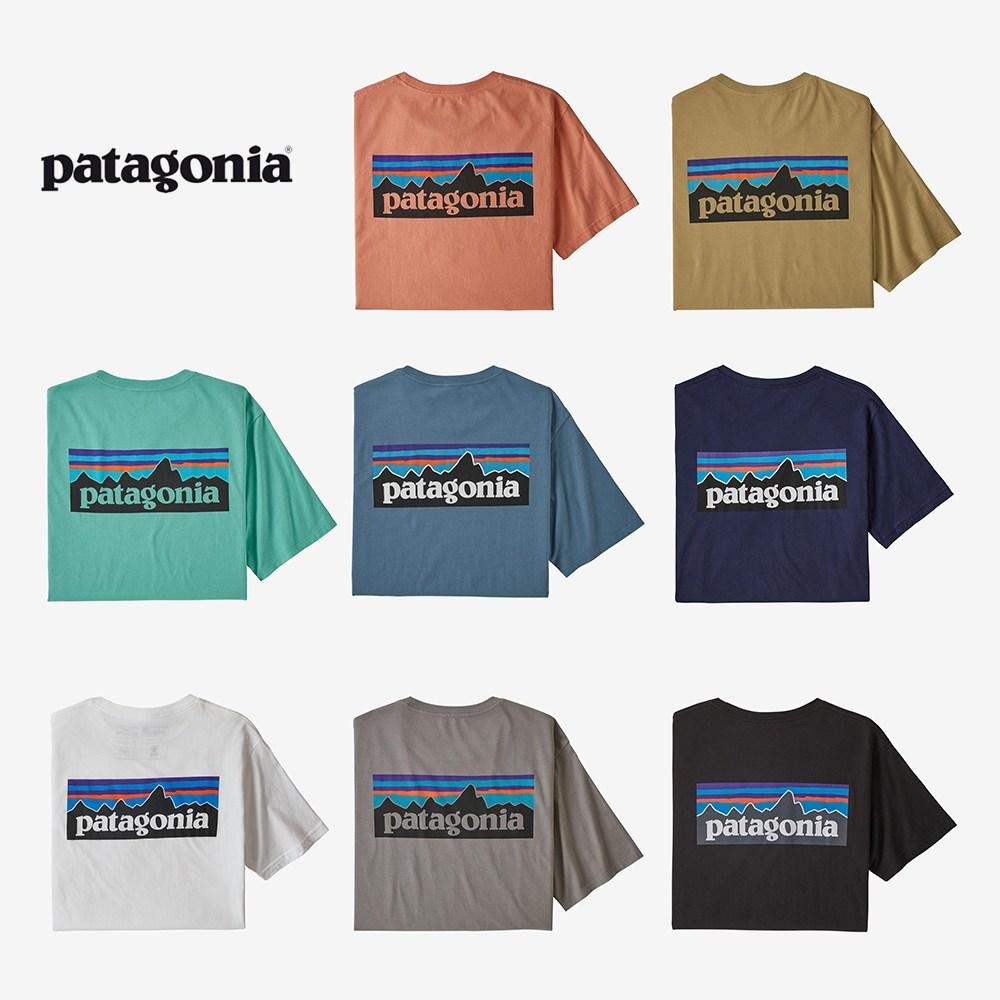 파타고니아 남녀공용 P-6 로고 오가닉 코튼 반팔 티셔츠