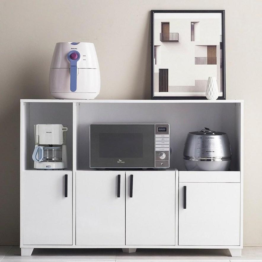 하이앤드리 스타 1200 에어프라이어 전자레인지 토스트기 렌지다이 렌지대 밥솥다이 와이드 넓은 주방 수납장 주방수납장, 화이트