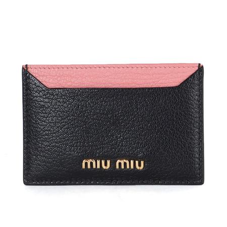 [멸치쇼핑]미우미우 5MC208 마드라스 카드지갑 블랙 분홍